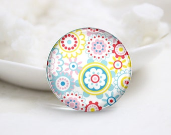 10mm 12mm 14mm 16mm 18mm 20mm 25mm 30mm Handmade Round  Photo Glass Cabochon Dome Flower Pattern Glass Cabs    (P2556)