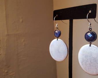 Blue Sapphire & Pewter Earrings
