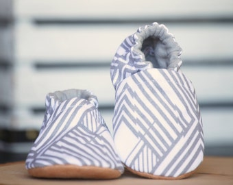 Diamond Taupe Canvas Crib Shoes, Baby Booties, Baby Shower