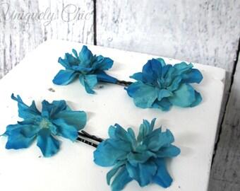 Blue delphinium hair pins, Blue wedding hair accessories, Bridesmaid hair pins, flower girl hair pin, prom hair, wedding accesories,