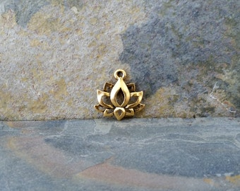 10 Lotus Charms Antique Gold boho jewelry pendant C111,gold lotus charm,lotus charm,lotus flower charm,golden lotus, lotus charm,yoga charms