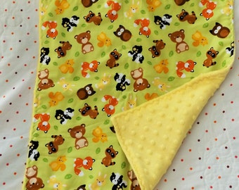 Woodland Animals with Minky Toddler Quilt, Security Blanket - Lovey - Carseat, Stroller, Travel Soother