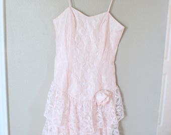 vintage 1980's pink lace layered prom dress