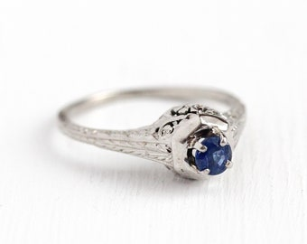 Sale - Genuine Sapphire Ring - Vintage 18k White Gold .24 CT Art Deco Size 6 1/2 1930s - Filigree Solitaire Engagement Blue Gemstone Jewelry