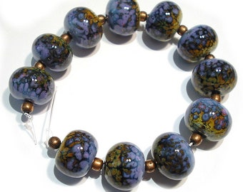 SRA Handmade Glass Lampwork Beads, Raku and Purple Rose Rounds