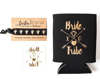 Black + Gold Bride Tribe Bachelorette Gift Set | Metallic Gold Tattoo, Hair Tie + Drink Cooler | Fiesta Bachelorette Party Favor