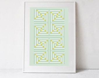 Mint Green Wall Art, Instant Download, Green Geometric Wall Print, Green Digital Print, Pastel Green Wall Decor, Green Printable Wall Art
