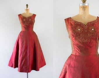 1960s  Bijou Précieux iridescent silk party dress / 60s holiday beauty