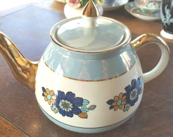 Gold and Pastel Blue Gibson Tea Pot