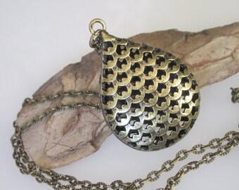 Celtic Pendant Necklace, Antiqued Bronze, Open Filigree Teardrop,  Large Unisex Necklace Pendant, Gift