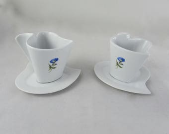 Ready to Ship - Set of Four Flowers Tea Set with Saucers