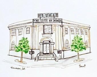 Custom storefront, restaurant, or church illustration, Archival Quality 8x10 print