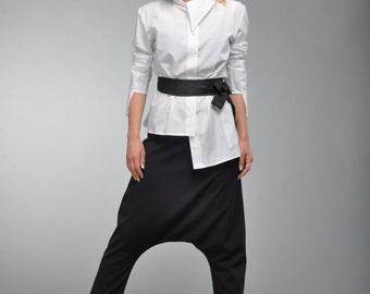 White Maxi Tunic, White Cotton Shirt, Deconstructed Shirt, Soft Tunic, Asymmetric Top, Casual Tunic, Modern Tunic by Astraea-2004