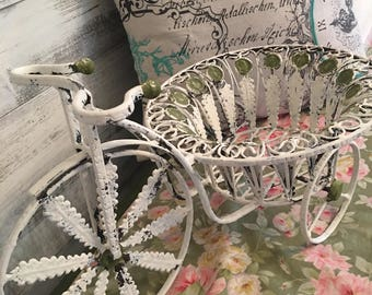 French Chic style bicycle. Wrought iron table planter