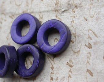set of 10 beads in wood violet rings 1.5 cm in diameter