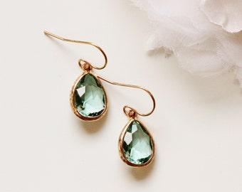 Seafoam Green Earrings Beach Wedding Earrings Bridesmaid Earrings Bridesmaids Gifts Gold Aqua Blue Drop Earrings Wedding Gift
