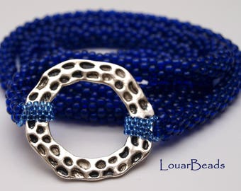 Navy Blue Necklace with Silver Circle