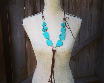 Turquoise & Leather Cowgirl Necklace