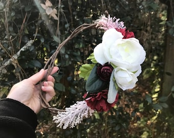 Burgundy and Pink Faux Flower Wedding Crown, Grapevine Flower Crown, Artificial Flower Crown