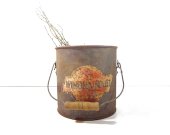 Vintage Galvanized Metal Bucket / Winona Maid Dairy Cream Milk Advertising Pail / Rustic Farmhouse Decor