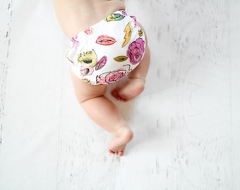 pink floral doodle bloomers, watercolor floral baby bloomers, baby girl bloomers, baby diaper cover, baby bloomers, baby shower gift