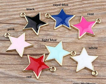 10PCS, 25x28mm, Enamel Charm, Star Charm, Enamel Star, Enamel Jewelry, Bracelet Charm, Craft Supplies, Gold Tone
