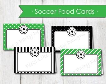 Soccer Food Cards - Instant Download