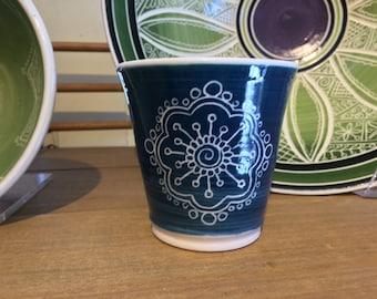 Teal Blue Porcelain Carved Juice Cup