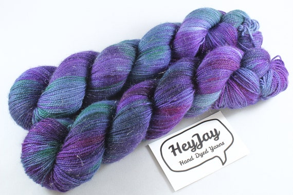 Hand Dyed Sparkle Sock Yarn - Oilslick