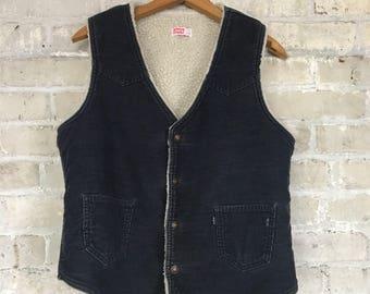 Vintage Levi's Lined Blue Corduroy Vest Size Medium Men's