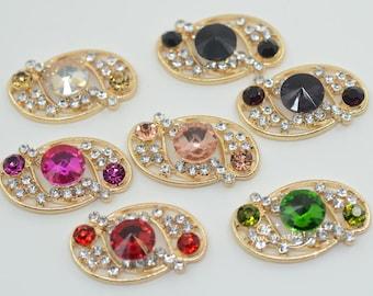20 pcs Mixed Color Rhinestone Button Costume Dress Applique Golden wholesale