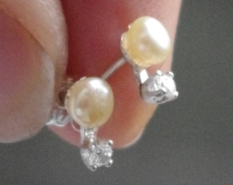 Natural Freshwater Pearls and Cubic Zirconia in Sterling Silver findings and studs