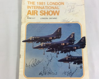 London Air Show 1981 Program Autographs of Snow Birds Blue Angels Pilots French American
