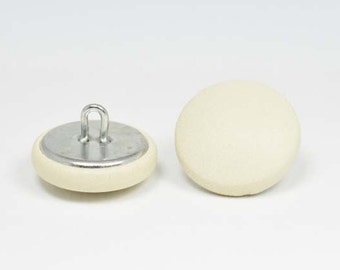 off white leather 20mm-6 covered buttons