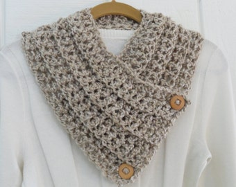 Crochet Chunky Button Cowl Scarf Tan Wood Buttons Neckwarmer Scarflette Ribbed Texture