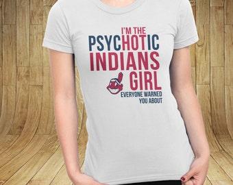 Cleveland Indians Hot Girl Women Tshirt White Small - 2XL