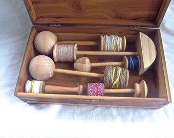 Handmade Primitive Reproduction of Vintage Sewing Darning Tools with Vintage Cedar Dovetail Storage Box Redesign Home and Living Sewing