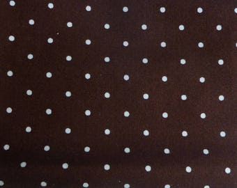 Brown patchwork with small white dots fat quarter fabric