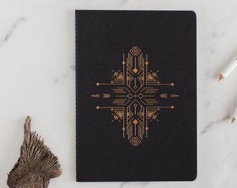 sketchbook - eco friendly black notebook -  blank paper - gold foil