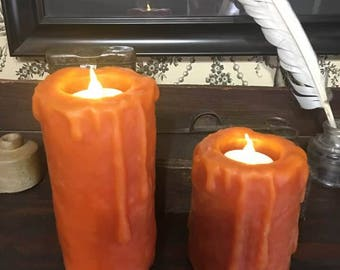 "Variety of Colors /  Flameless Beeswax Pillar Drippy 6"" Candle with LED Timer Tealight"