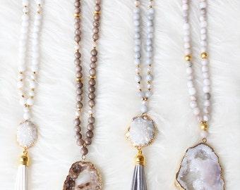 Long Beaded Druzy Tassel Necklace - Druzy Necklace - Tassel Necklace - Druzy Jewelry - Boho Jewelry - Agate Necklace  - Beaded Necklace