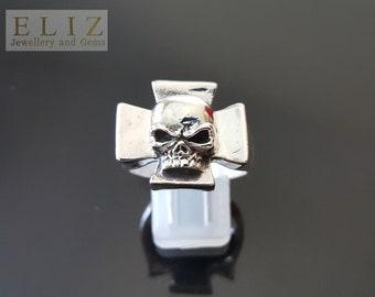 Handmade Iron Cross Skull .925 Sterling Silver Ring Biker Punk Rocker Goth 10.5'
