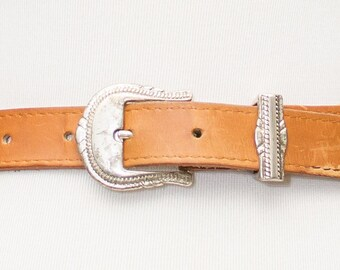 Vintage brown Leather Belt with Silver Buckle and  Medallions.