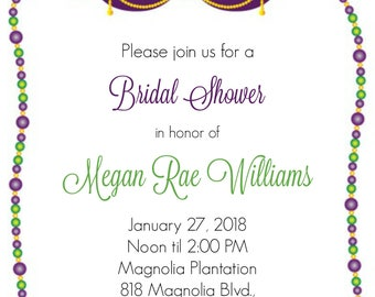 Mardi Gras Bridal Shower Invitaiton, Masquerade, Beads, Mask
