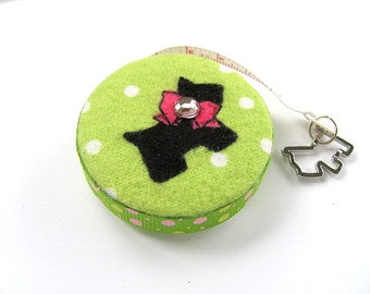 Measuring Tape with Scottie Dogs on Lime Retractable Pocket Tape Measure