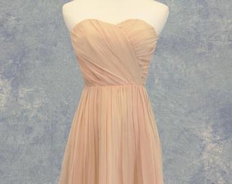 Vintage Mauve Pink Rose Bridesmaid Dress Short Formal Bat Mitzvah Homecoming SAMPLE SALE!