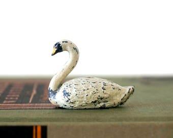 Miniatur-Schwan - Jahrgang 1930 Blechspielzeug - Miniatur-Vögel - Druckguß Blei - Miniatur-Spielzeug - Blechspielzeug