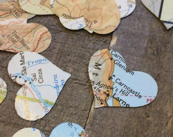 100 Pieces Map Atlas Paper Heart Wedding Confetti Mix / Table Decor Decoration Scatter Centerpiece Hand Punched