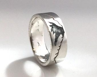 Mount Hood Summit Ring, 7mm Band, Mt Hood, Custom Gemstone Inlay Ring, Handmade Mountain Summit Band with Recycled Precious Metal