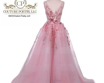 Soft Pink Tulle Deep V Gown with 3D Appliqués